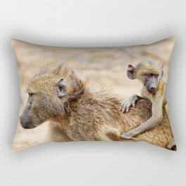 Cute monkey baby and mother Rectangular Pillow