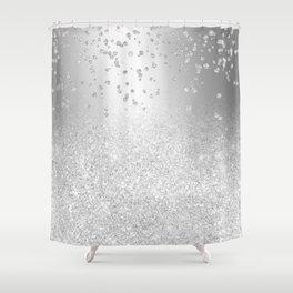 Modern silver glitter ombre metallic sparkles confetti Shower Curtain