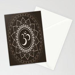 Espresso Brown Om Mandala Stationery Cards
