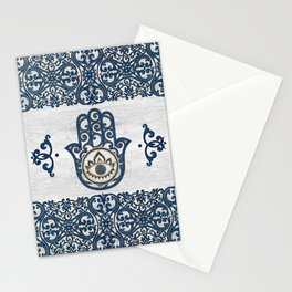Hamsa Hand Hand of Fatima blue wood Stationery Cards