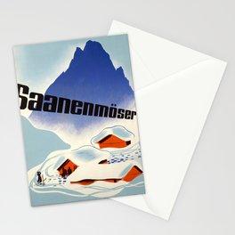 retro old saanenmoser schweiz suisse switzerland  poster Stationery Cards