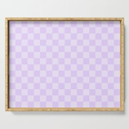Large Chalky Pale Lilac Pastel Checkerboard Serving Tray