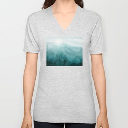 Sunrise in the mountains, dawn, teal, abstract watercolor Unisex V-Neck