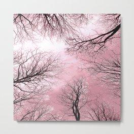 Black Trees Pink Sky Metal Print