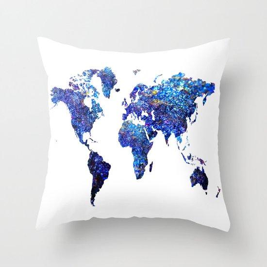 Blue Purple Throw Pillows : World Map blue purple Throw Pillow by Haroulita Society6