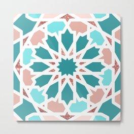 Geometric Arabic Pattern in Red Sea colors Metal Print