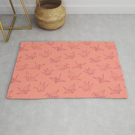 Paper cranes origami pink Rug