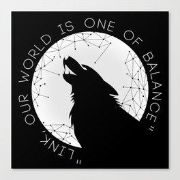Twilight Wolf - White Canvas Print