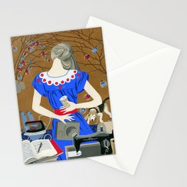 Lady in a blue dress Stationery Cards