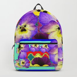 PURPLE-YELLOW PANSY GARDEN ON BLUE ART Backpack