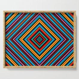 Simple Rainbow Chakra Mandala - Colorful - Romb - Folk Geometry - Black Serving Tray