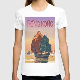 Vintage-Style Hong Kong Travel Poster T-shirt