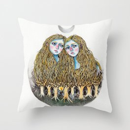 Goblin Market - illustration of poem by Christina Rossetti Throw Pillow