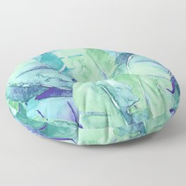 Banana Tree Leaves | Tropical  BLUE Watercolor Floor Pillow
