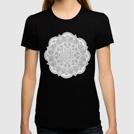 Grey and White Flower Mandala T-shirt