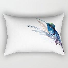 Hummingbird, Navy Blue Turquoise Artwork, minimalist bird art blue Rectangular Pillow