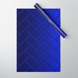 Herringbone Gradient Dark Blue Wrapping Paper