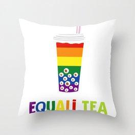 Equali-Tea Boba Bubble Tea LGBT Rainbow Pride Throw Pillow