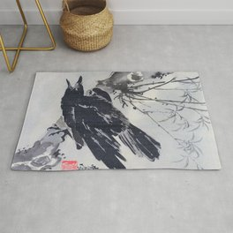 Kawanabe Kyosai - Crow On A Branch - Digital Remastered Edition Rug