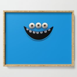 Funny  blue monster Serving Tray