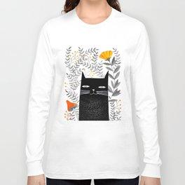 black cat with botanical illustration Long Sleeve T-shirt
