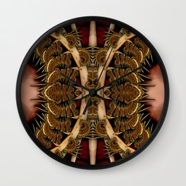 Baroque Feathers Red Wall Clock