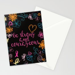 Be Strong & Courageous Awareness Ribbon Stationery Cards