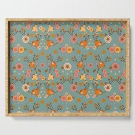 Bohemian 70s floral print, 70s pattern, Art nouveau Blue Serving Tray