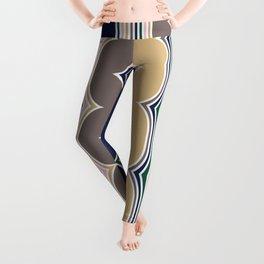 Geometric, Abstract Stripes, Colorful, Retro Art Leggings