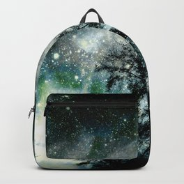 Black Trees Mysterious Blue Green Space Backpack