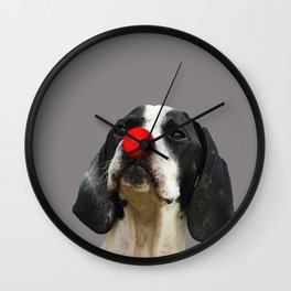 Pointer dog with red clown nose Wall Clock
