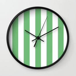 Iguana green - solid color - white vertical lines pattern Wall Clock