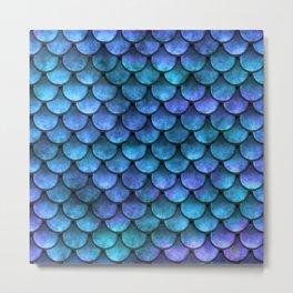 Blue Turquoise Watercolor Mermaid Scale Pattern Metal Print