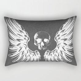 Grey & White Rock Angel Wings Skull Rectangular Pillow
