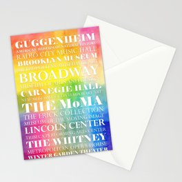 New York Arts - white text on color Stationery Cards