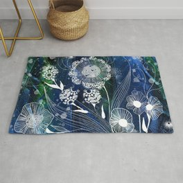 Fantasy Flowers on Feather Background Rug