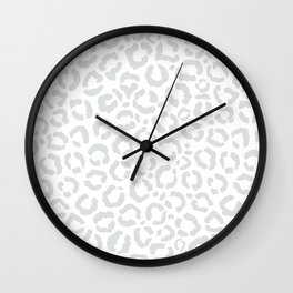 Elegant White Gray Leopard Cheetah Animal Print Wall Clock