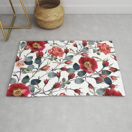 Beautiful vector pattern with red rose flowers in vintage watercolor realistic style Rug
