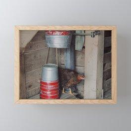 Chicken Behind Farm Pails Framed Mini Art Print