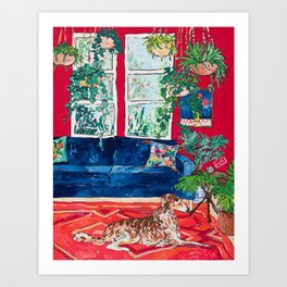 Red Interior with Borzoi Dog and House Plants Painting Art Print