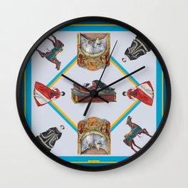 Nostalgic Pattern Vintage Toys Blue Wall Clock