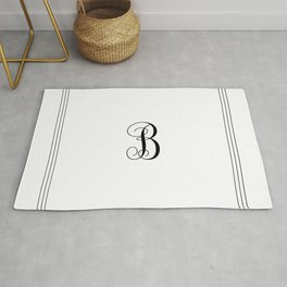 Monogram Letter B in Black with Triple Border Rug