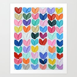 Polka Daub Heart Grid Art Print