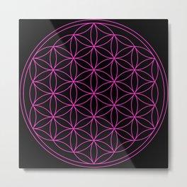 Flower of LIfe Hot Pink & Black Metal Print