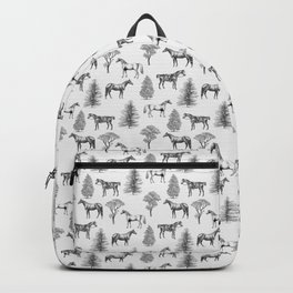 HORSES &TREES Black and white pattern  Backpack