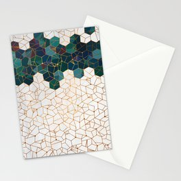 Teal and Cream Organic Hexagons Stationery Cards