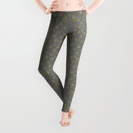 Holiday Flourishes in Gold on Grey Design Leggings
