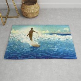 Hawaiian Surfer portrait painting by Charles W. Bartlett Rug