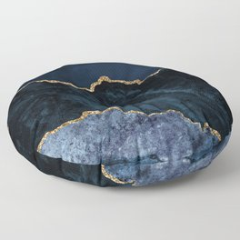 Beautiful Sapphire And Gold Marble Design Floor Pillow