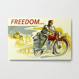 Retro vintage style FREEDOM motorcycle Metal Print